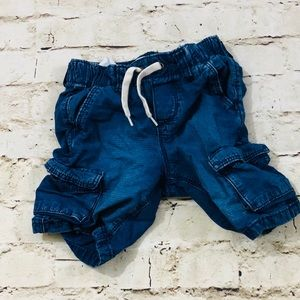 Boys 4T denim jean cargo shorts NWOT
